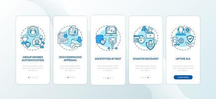 Sicherheitsparameter des Remote-Job-Tools Onboarding des Bildschirms der mobilen App-Seite mit Konzepten