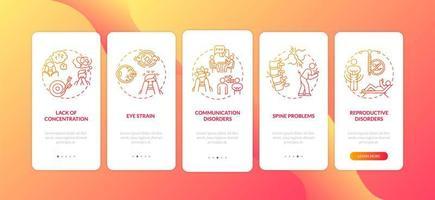 Gadget-Sucht negative Auswirkungen Onboarding Mobile App Seite Bildschirm mit Konzepten