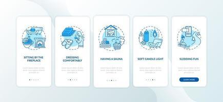 Hygge Lifestyle für gemütlichen Winter Onboarding Mobile App Seite Bildschirm mit Konzepten