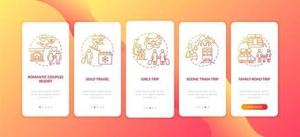 Winterurlaub Ideen Onboarding Mobile App Seite Bildschirm mit Konzepten