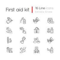 första hjälpen kit linjära ikoner set vektor