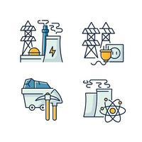 energiproduktion rgb färgikoner set vektor