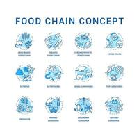 Lebensmittelkette Konzept Icons Set. primäre, sekundäre und tertiäre Verbraucher. Top Fleischfresser. Lebenszyklus Idee dünne Linie RGB Farbabbildungen. Vektor isolierte Umrisszeichnungen. bearbeitbarer Schlaganfall