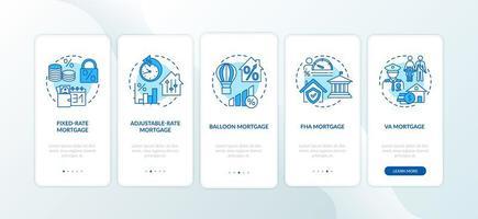 Hypothekentypen Onboarding Mobile App Seite Bildschirm mit Konzepten