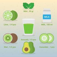 Gesunder natürlicher Lebensmittel-grüner Smoothie in der Glasseitenansicht-Illustration vektor