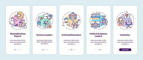 Influencer Typen Onboarding Mobile App Seite Bildschirm mit Konzepten