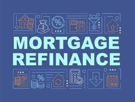 inteckning refinansiera ord begrepp banner vektor