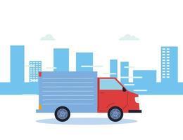 Frachttransporter in der Stadt vektor