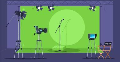 Musikshow, die halbflache Vektorillustration filmt