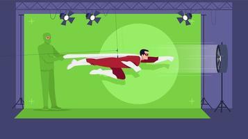 halbflache Vektorillustration des Superheldenfilms