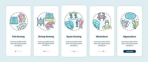 Aquakultur Onboarding Mobile App Seite Bildschirm mit Konzepten
