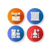 handel platt design långa skugga glyph ikoner set