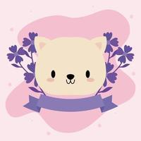 söt kawaii baby katt med blommor vektor