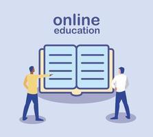 online-utbildning, människor som står med boken vektor
