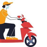 Kurier mit Maske macht eine Lieferung auf einem Fahrrad