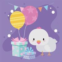 söt födelsedagskort med kawaiihöna vektor