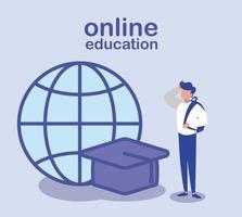 man med examenlock och global sfär, online-utbildning