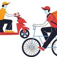 kurir med mask och transportfordon för leverans