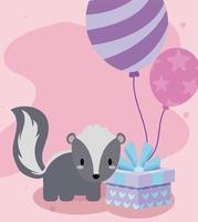 söt kawaii skunk med heliumballonger och gåva vektor