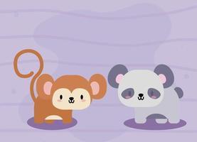 sött kort med kawaii apa och pandabjörn vektor