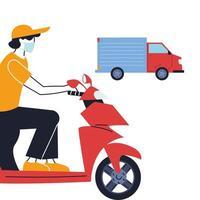 Kurier mit Maske und Transportfahrzeug zur Lieferung