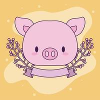 süßes kawaii Schwein mit Pflanzen vektor