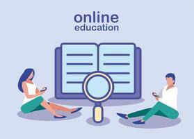 onlineutbildning, människor med smartphones och böcker vektor