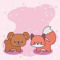 sött kort med kawaiibjörn och räv