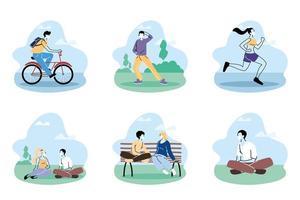 människor i medicinska skyddsmasker tillbringar tid i parken