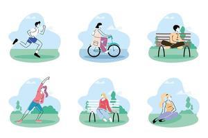 Menschen in medizinischen Schutzmasken verbringen Zeit im Park