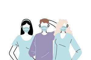 unga människor som bär ansiktsmasker för att förhindra virus