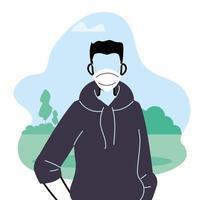 ung man som bär ansiktsmask för att förhindra virus i parken vektor