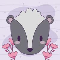 söt kawaii baby skunk med blommor vektor