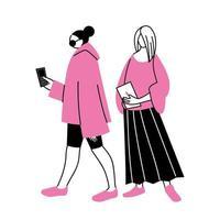 unga kvinnor som använder smartphones och surfplattor vektor