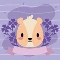 Kopf des Kawaii Hamsters mit Blumen