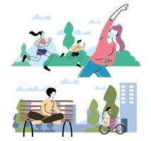 Menschen, die im Park im Freien Sport treiben
