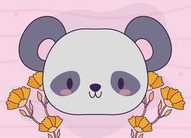 kopf des kawaii baby panda bären mit pflanzen vektor
