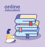 online-utbildning, kvinna med bärbar dator och trave böcker vektor