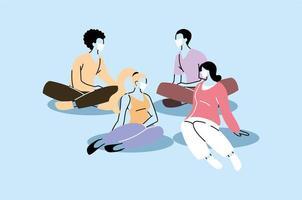 Gruppe von Menschen mit Gesichtsmasken sitzen