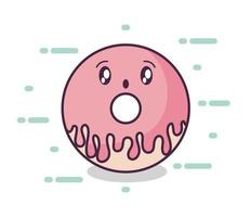 frischer und köstlicher Donut-Kawaii-Stil vektor