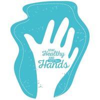 Bleib gesund und wasche deine Hände, Hände mit Seife gewaschen