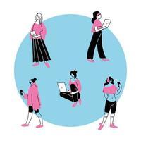 unga kvinnor som använder elektroniska apparater vektor