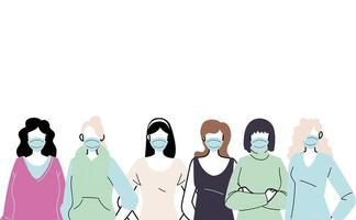 junge Frauen tragen Gesichtsmasken, um Viren zu verhindern