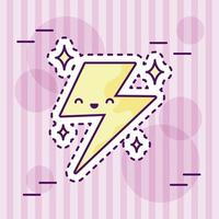 åska eller blixt, kawaii stil vektor
