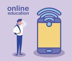 Mann mit Smartphone und WLAN, Online-Bildung