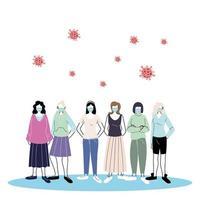 Jugendliche, die Gesichtsmasken tragen, um Viren vorzubeugen