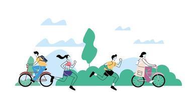unga människor som gör fysisk aktivitet utomhus i parken, hälsosam livsstil och kondition