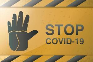 Symbol der Vorsicht, stoppen Sie Covid 19 oder Coronavirus