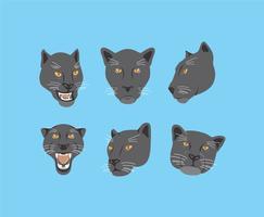 Svart Panther Heads Vector