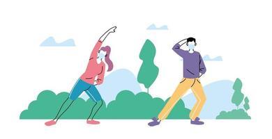 människor som gör fysisk aktivitet utomhus i parken, hälsosam livsstil och kondition
